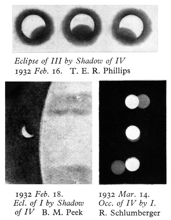 historical sketches showig mutual events of Jupiter's satellites in early 1932