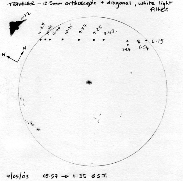 Sally Russell sketched Mercury transit