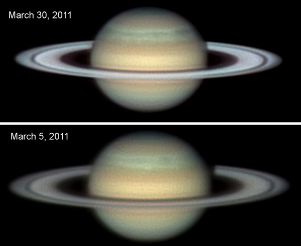 The Seeliger effect, which combined the enhancements of shadow hiding and coherent backscattering, makes Saturn's rings appear brighter the closer the planet is to being opposite the Sun.