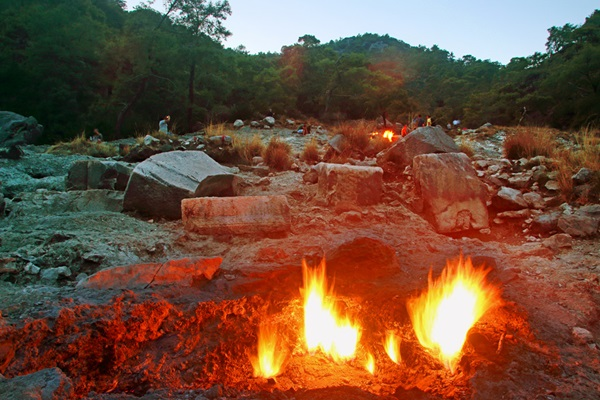 The eternal flames burn in Turkey's geothermically active region of Mount Chimaera.