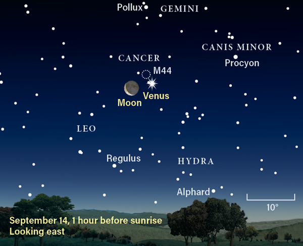 Finder chart for Venus and the Moon, September 14, 2020