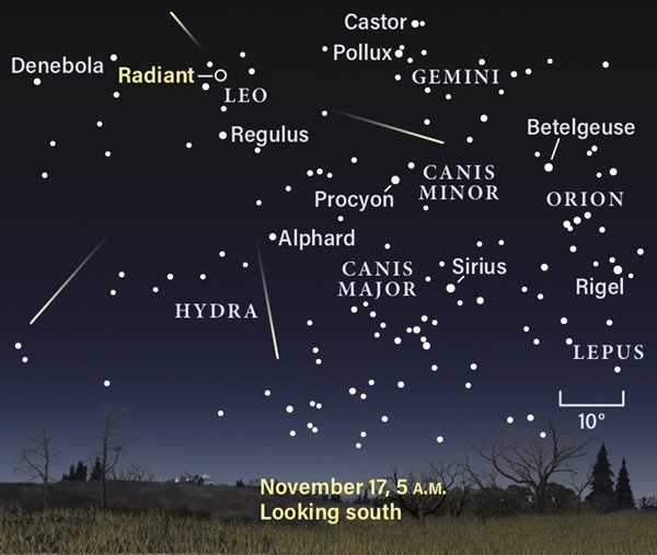 Star chart showing the Leonid meteor shower radiant