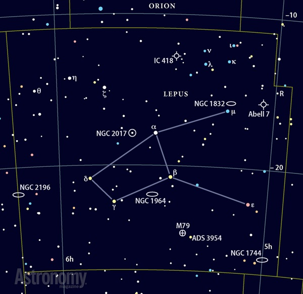 Star chart showing Lepus the Hare