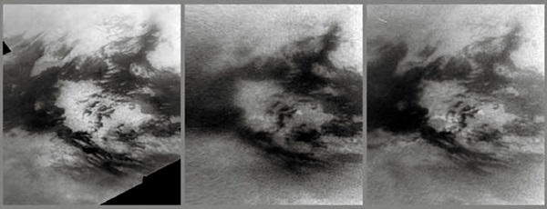 Clouds on Titan create methane rain, causing changes on the surface below.