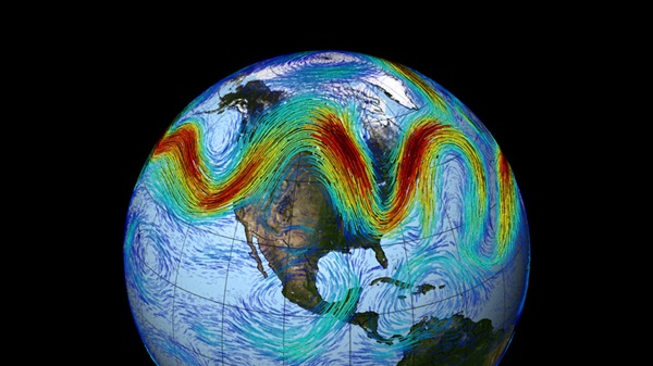This visualization pairs NASA weather and climate observations to model one month of the jet stream's meandering path above North America.