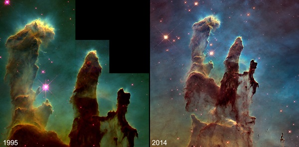 Pillars of Creation in 1995 and 2014