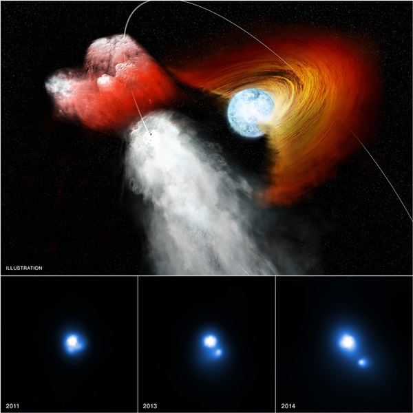 Pulsar punches hole in stellar disk (illustration)