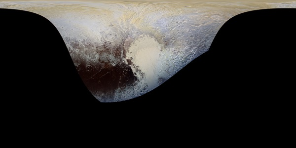 Cylindrical projection map of Pluto