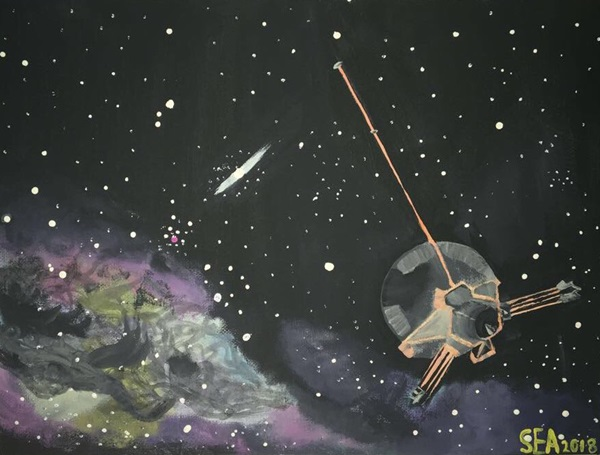 Painting of the Pioneer spacecraft in deep space