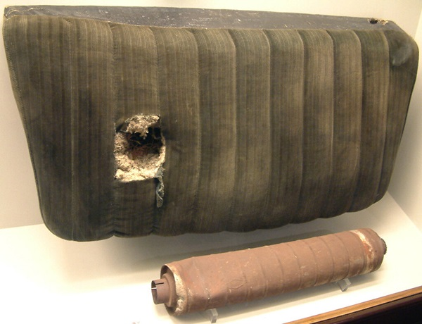 Edward McCain's car seat and muffler