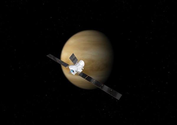 Artist's concept showing BepiColombo flying by Venus