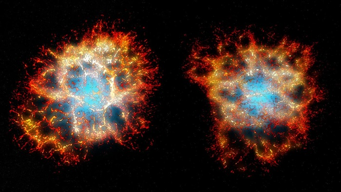 3D reconstruction of the Crab Nebula from different viewpoints