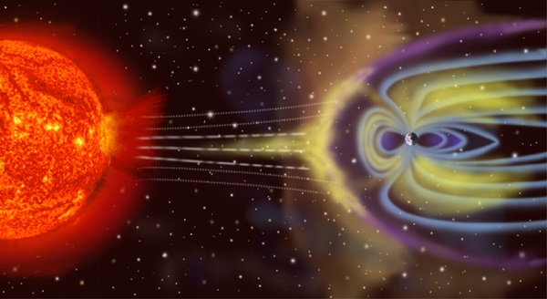 Illustration of an exoplanet with a magnetic field, along with its star