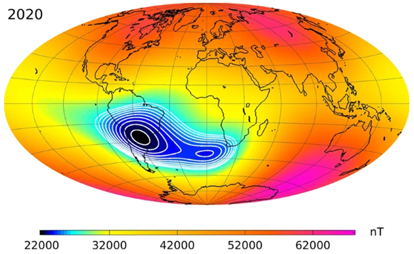 Map of Earth's magnetic field, showing the South Atlantic Anomaly
