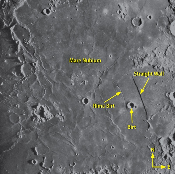 Straight Wall and Birt on Moon