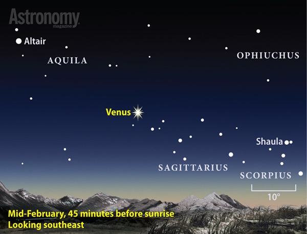 Venus peaks at magnitude –4.9 in mid-February