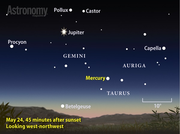 Mercury puts on a nice show on evenings during May 2014's second half.