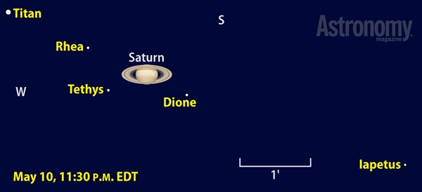 Saturn's five brightest moons should all show up through 4-inch and larger scopes the night of May 10, 2014.
