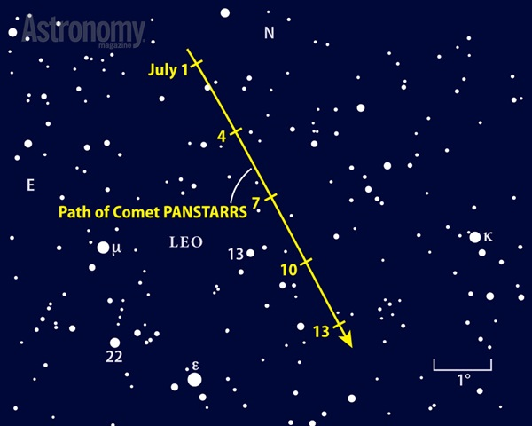 Catch Comet PANSTARRS crossing northwestern Leo in early July 2014.