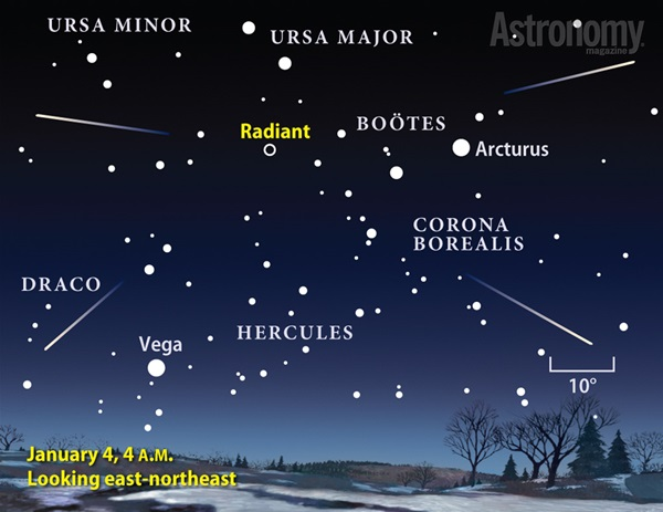 Quadrantid meteor shower finder chart