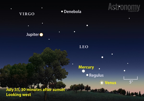 Mercury and Venus at dusk finder chart