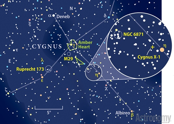 Star chart showing the location of Cygnus X-1