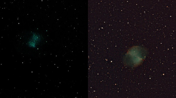 Two images of M27, the Dumbbell Nebula