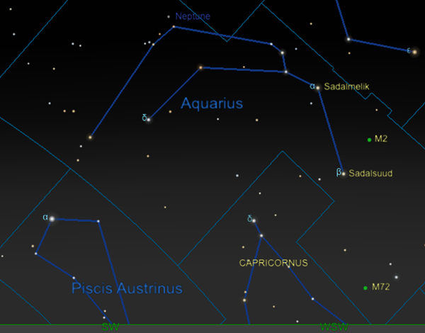 Star map of Aquarius in January 2021