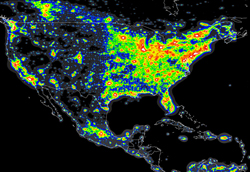 North American light pollution