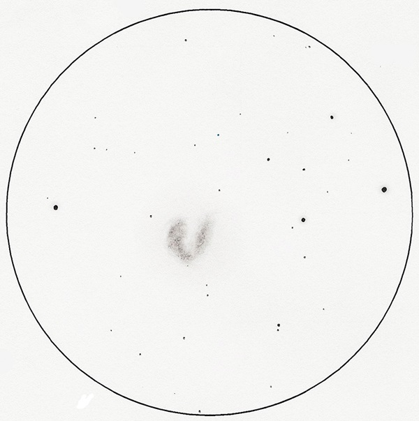 This image is the sketch of Antennae (NGC 4038/9) after the author used software to clean it up.