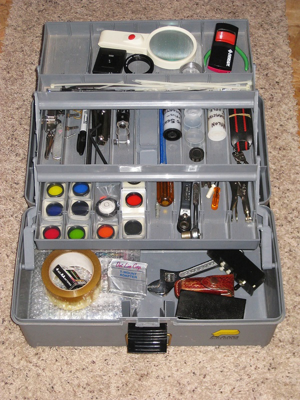 a fishing tackle box is a great observing kit
