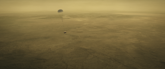 Huygens probe descending over Titan's surface
