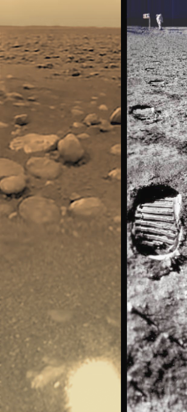 Huygens' view of Titan compared to Moon landing site