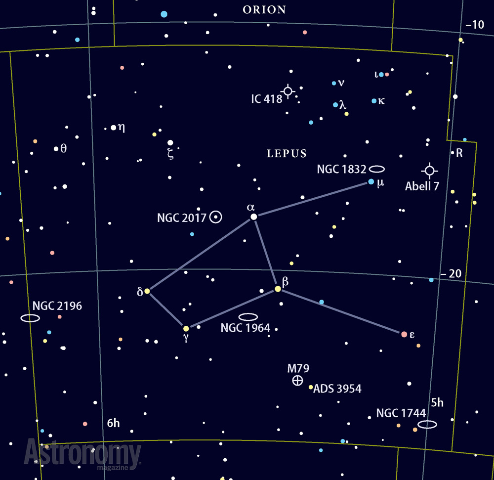 The constellation Lepus, the Crab Nebula (M1), and the ...