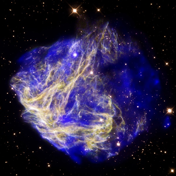 Exploding stars called supernovae produce most of the universe's heavy elements, including iron.