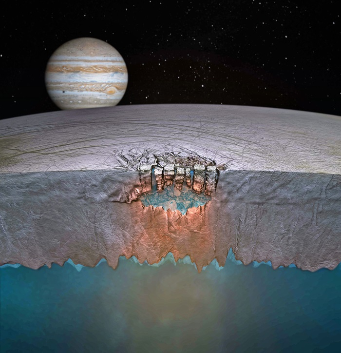 Jupiter's moon Europa is the size of Earth's satellite but may hold as much water as our planet beneath its icy shell.