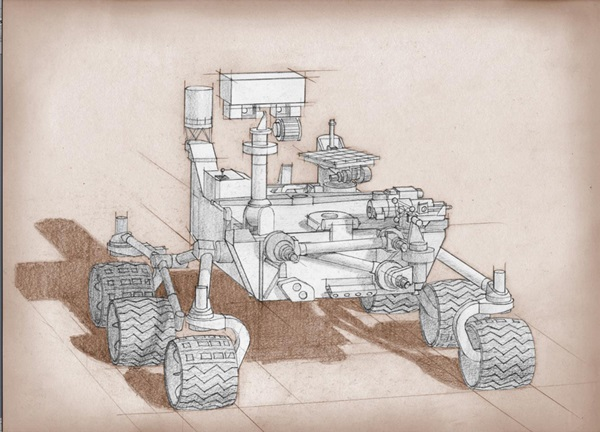 This artist's drawing of the Mars2020 rover is based on Mars Science Laboratory Curiosity.