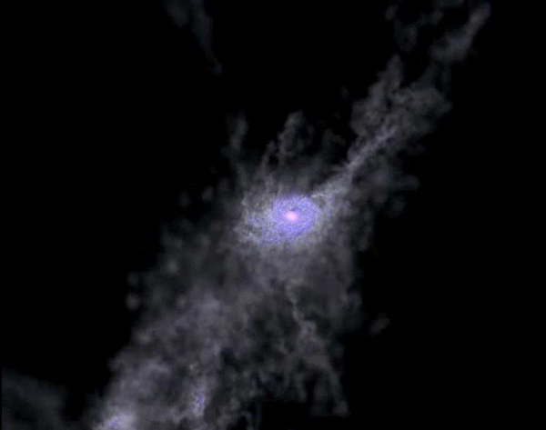 Cosmic swirly straws feed galaxy