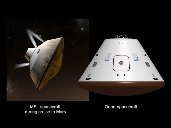 Mars Science Laboratory and Orion spacecraft comparison