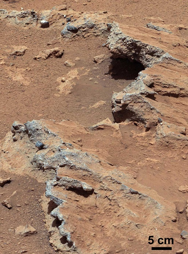Exposed bedrock on Mars