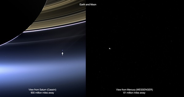 Views of Earth and Moon by Cassini and MESSENGER