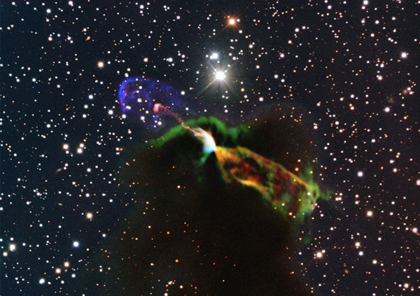 ALMA and NTT image of newborn star