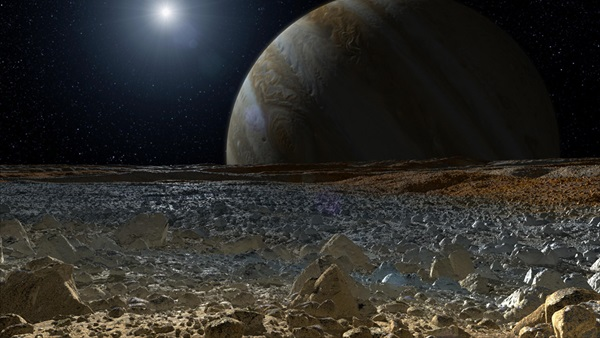 Illustration of Europa and Jupiter