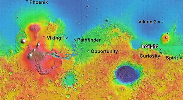 The InSight lander, scheduled to launch in 2016, will land in one of four candidate sites on Mars.