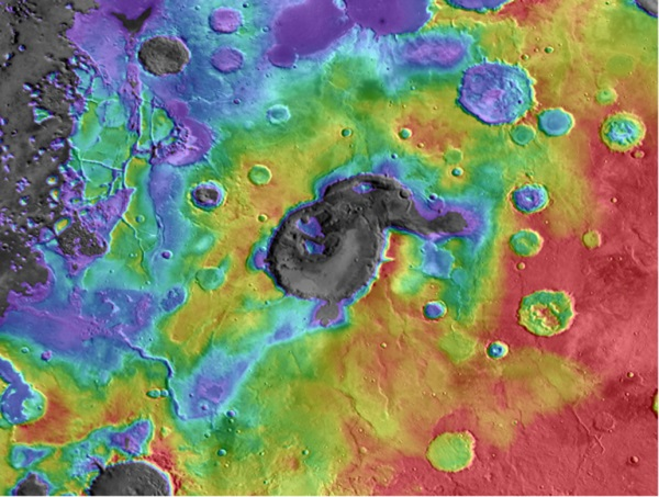 Eden Patera basin on Mars