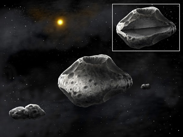 Artist's rendering of Sylvia triple asteroid system