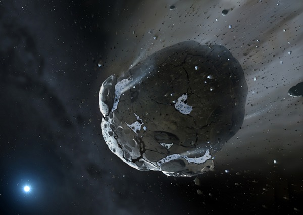 Artist's impression of a watery asteroid being torn apart