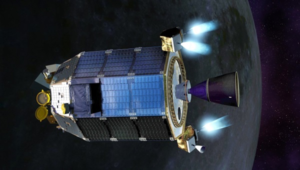 NASA's Lunar Atmosphere and Dust Environment Explorer (LADEE) spacecraft firing its maneuvering thrusters