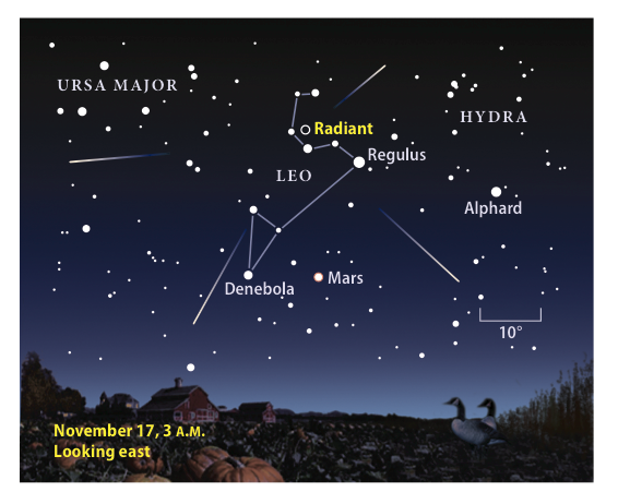 Leonid meteor shower finder chart