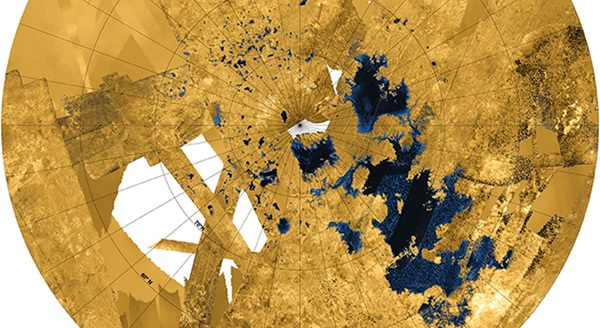 Titan's northern land of lakes and seas